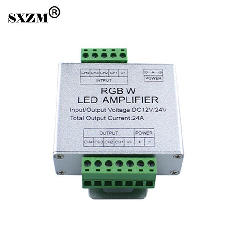 SXZM DC12/24V 24A RGBW Led amplifier for 5050 RGBW RGBWW led strip light signal amplifier led rgbw amplifier dc12v 24v 24a 4 channel 4ch rgbw led strip power repeater signal amplifier for rgbw led strip lamp lighting