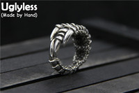 Uglyless Real Thai S 925 Silver Men Cool Eagle Claw Finger Rings Exaggerated Design Handmade Personalized Punk Ring Retro Bijoux