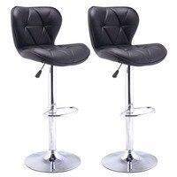 Set Of 2 Bar Stools Leather Modern Hydraulic Swivel Dinning Chair Barstool Black HW48529 2BK
