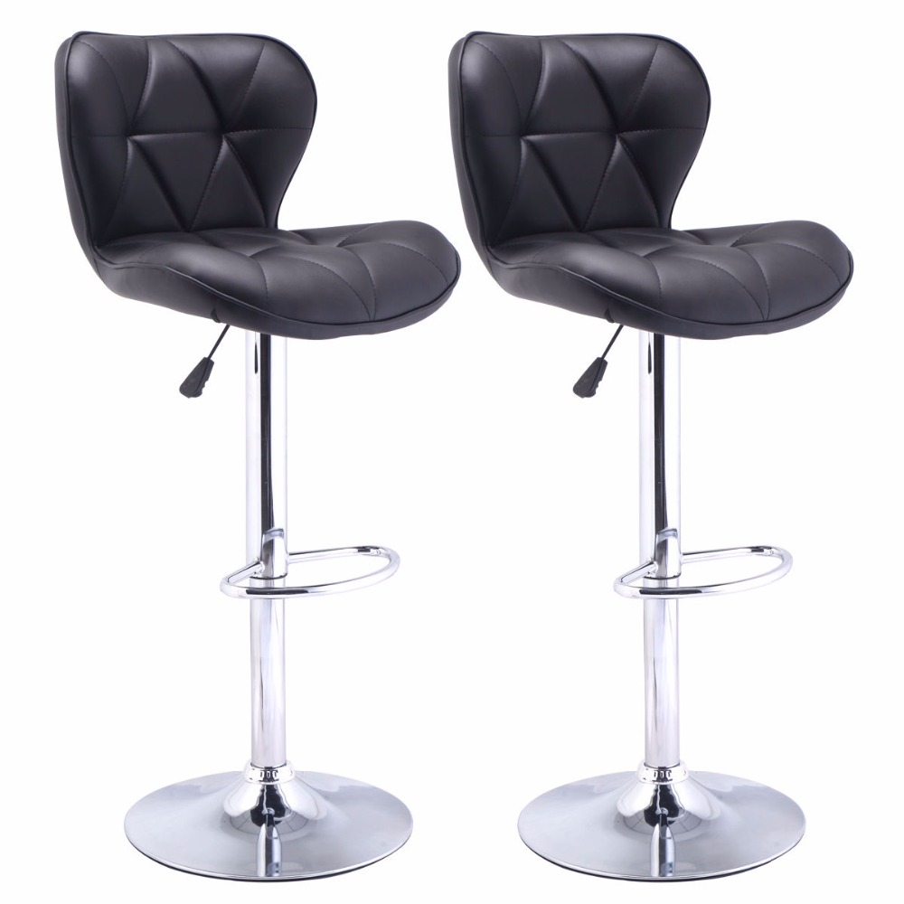 set of 2 bar stools leather modern hydraulic swivel dinning chair barstool black hw485292bk