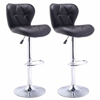 Set Of 2 Bar Stools Leather Modern Hydraulic Swivel Dinning Chair Barstool Black HW48529 2BK