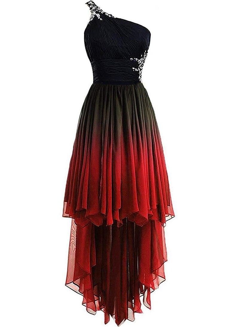 JaneVini mode 2019 haut bas dégradé en mousseline de soie longue robes de demoiselle d'honneur une épaule cristal perlé dos nu robes de soirée formelles - 3