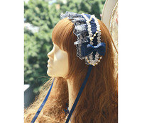 Princess sweet lolita headwear With purple blue lace embroidery lace trimming gorgeous beads bow with Lolita accessorie MHTSP035