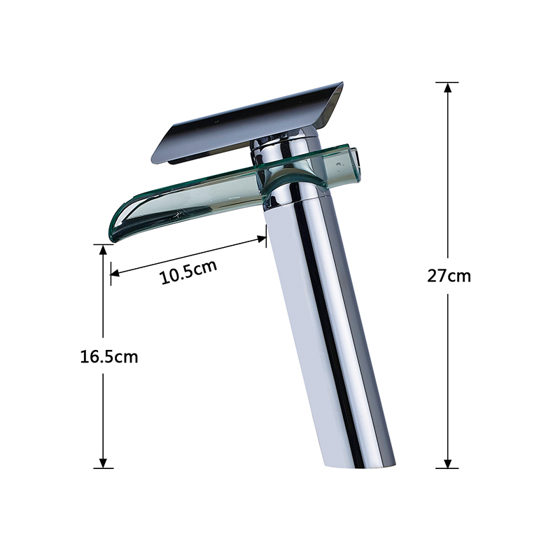 Basin-Faucet-Waterfall-Spout-Glass-Solid-Brass-Deck-Counter-top-Sink-Faucets-Single-Handle-Cold-and