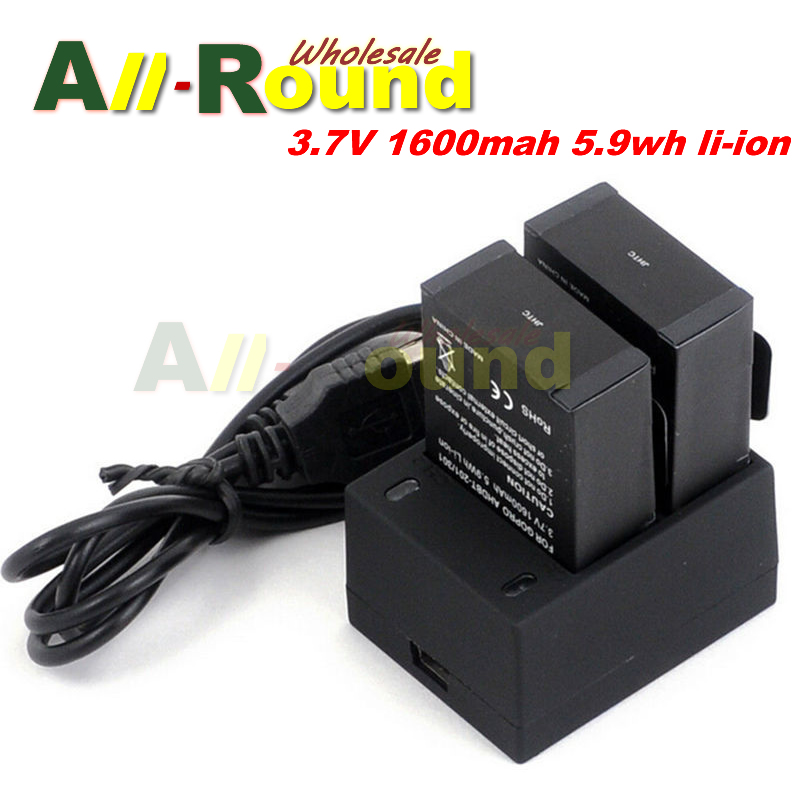 2Pcs For Gopro Hero 3+ Battery 3.7V AHDBT-301 Hero3 Battery + USB Dual Charger For GoPro Hero3+ AHDBT302 camera accessories