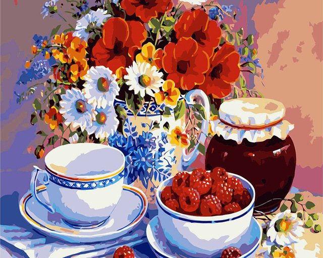DIY Oil Painting By Numbers Flowers Vase Teacup Kits Wall Art Picture Home Decor Acrylic Paint