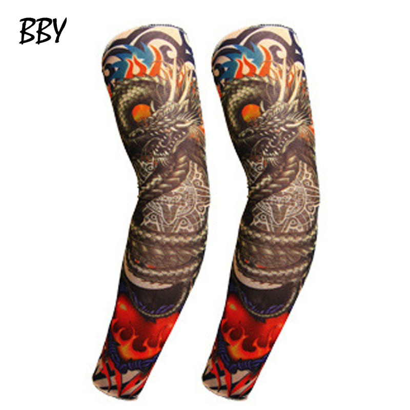 Random 1pcs Temporary Fake Slip On 3D Tattoo Sleeve Arm Sleeves Kit Elastic Arm Stockings Tatoo For Cool Men Women  R462