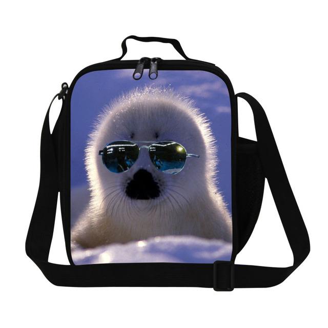 Sello personalizado de impresión bolsa de almuerzo para la escuela de niñas, lindo animal para mujer bolsa de comida para el trabajo de almuerzo aislada contenedor para niños