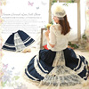 Japanese Mori Girl Lolita Dress Women S Patchwork Floral Embroidery Big Swing Blue Cotton Vestido Kawaii
