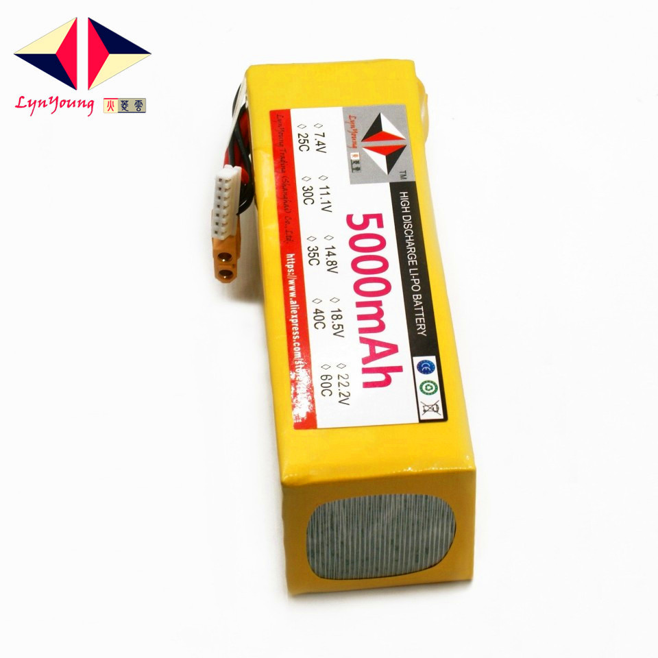LYNYOUNG <font><b>6S</b></font> RC <font><b>Lipo</b></font> Battery 22.2V <font><b>5000mAh</b></font> 60C 120C For truck Car Quadcopter Helicopter Drone part image