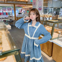 Autumn Vintage Women Corduroy Dress Ruffles Lace Patchwork Japanese Dress Harajuku Cute Loose Long Sleeve Girls Vestidos f1124