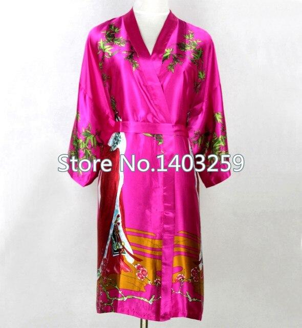 Большой размер XXXL ярко розовый женщины сексуальное нижнее белье китайском стиле невесты свадьба шелковый халат кимоно Mujer Pijama NR049