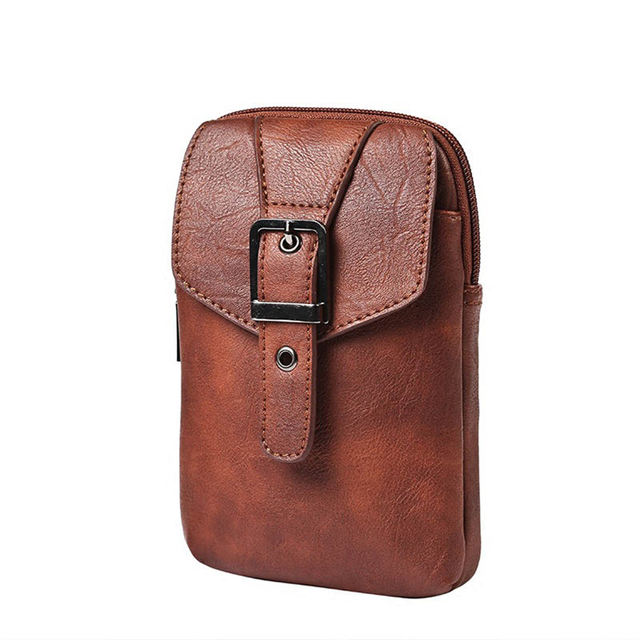 Multifunction Travel Fanny Pack Casual PU Leather Mens Waist Bag Belt Loops  Hip Bum Bags Korean a9f8dfd559