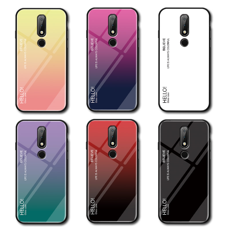 Tempered Glass Case for Nokia 7 1 Gradient Color Hard Back Cover for Nokia 7 1 Soft Silicone Bumper For Nokia 7 1 Case in Fitted Cases from Cellphones Telecommunications