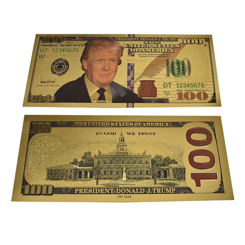 New Design The America President Trump Gold Banknote USD One Million 100 1000 Dollar Gold Plastic Cards in Gold Banknotes from Home Garden