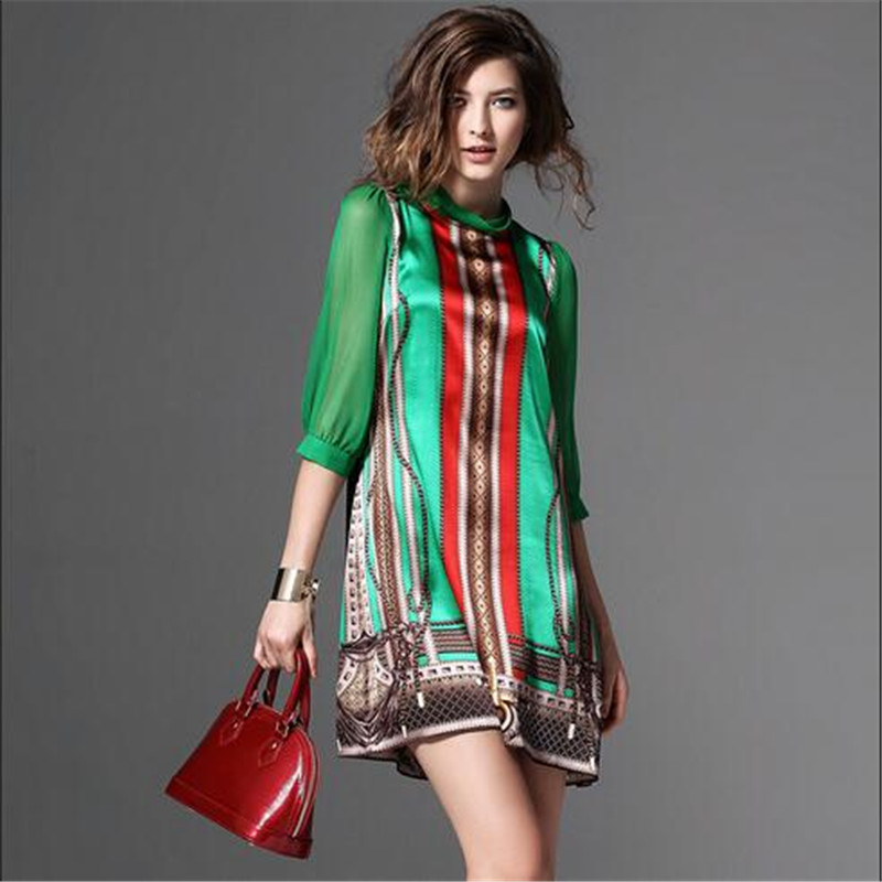 New Fashion Elegant Vintage Pattern Green Print Dresses