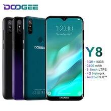DOOGEE Y8 Android 9,0 FDD LTE 6,1 дюймов 19:9 в виде капли воды, экран LTPS смартфон MTK6739, 3 Гб оперативной памяти, Оперативная память 16 Гб Встроенная память 3400 Max две sim карты 8.0MP Новый