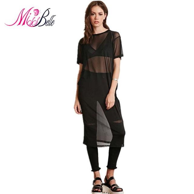 Miss Belle 2015 Western Bf Style Sexy Black Sheer Mesh T Shirt
