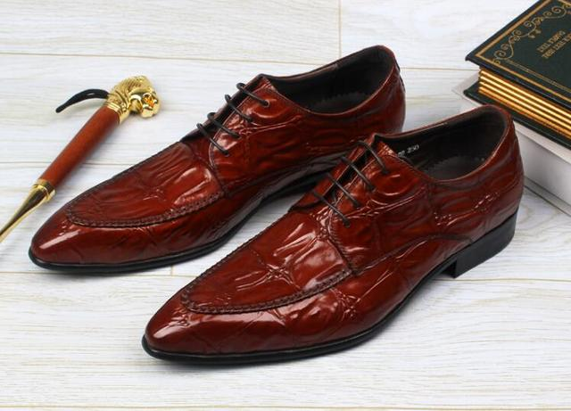 Handmade Dress Shoes Men Lace Genuine Leather Smart Casual Work