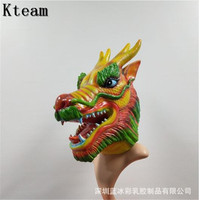 Realistic Adult Full Head Animal Mask Halloween Party Cosplay Costume Latex Dragon Mask Funny Scary Ghost Mask Fancy dress