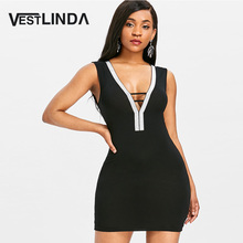 VESTLINDA Open Back Sleeveless Bodycon Dress Plunging Neckline Sheath Mini  Fit Slim Black Dress Women Vestido 2b3a4b536c44