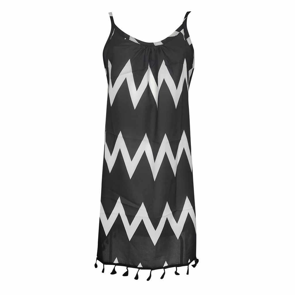 女性のビーチドレス夏セクシーな波パターンの房の 2019 ボヘミアンスタイルのドレスストラップノースリーブホリデードレスミニ Vestidos T