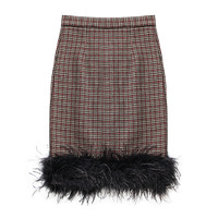 Elegant Houndstooth Plaid Skirt Women Vintage Feather Skirt Fall Winter Pencil Skirt for Office Lady