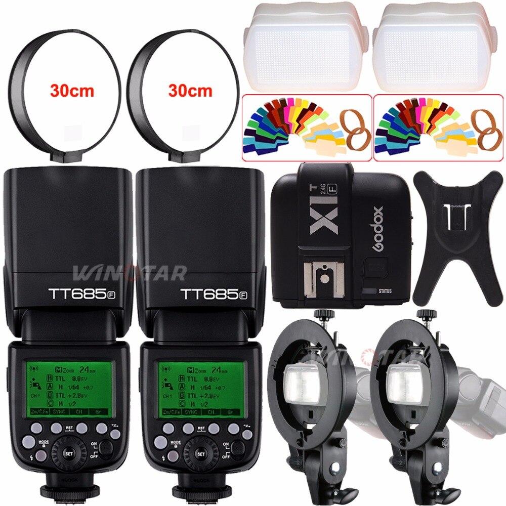 2x Godox TT685F 2.4G HSS TTL 1/8000s Camera Speedlite Flash+ X1T-F Trigger+Bowens S-Type Bracket for Fuji X-Pro2/X-T20/X-T1/X-T2 godox v860iic v860iin v860iis x1t c x1t n x1t s hss 1 8000s gn60 ttl flash speedlite 2 4g transmission godox softbox filter