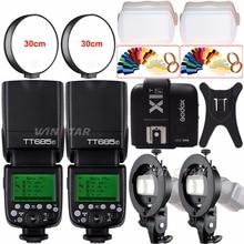 2x Godox TT685F 2.4G HSS TTL 1/8000s Camera Speedlite Flash+ X1T-F Trigger+Bowens S-Type Bracket for Fuji X-Pro2/X-T20/X-T1/X-T2