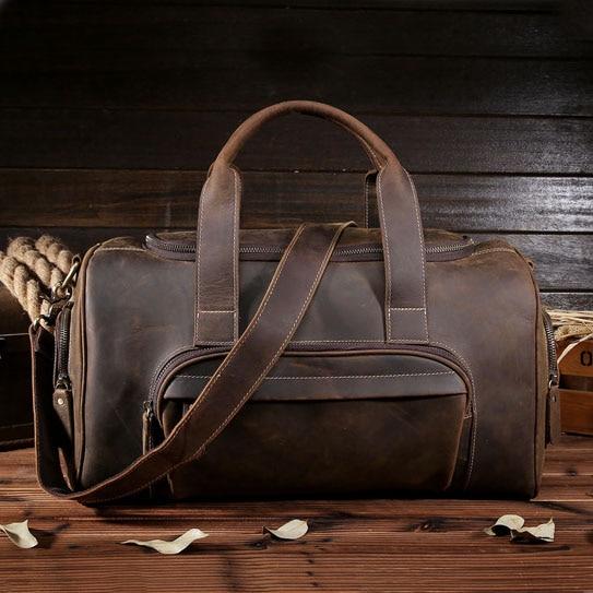 Men Crazy Horse Genuine Leather Travel Bag Large Luggage Vintage Travel Duffle Men Brand Retro Messenger Shoulder Bag 9045