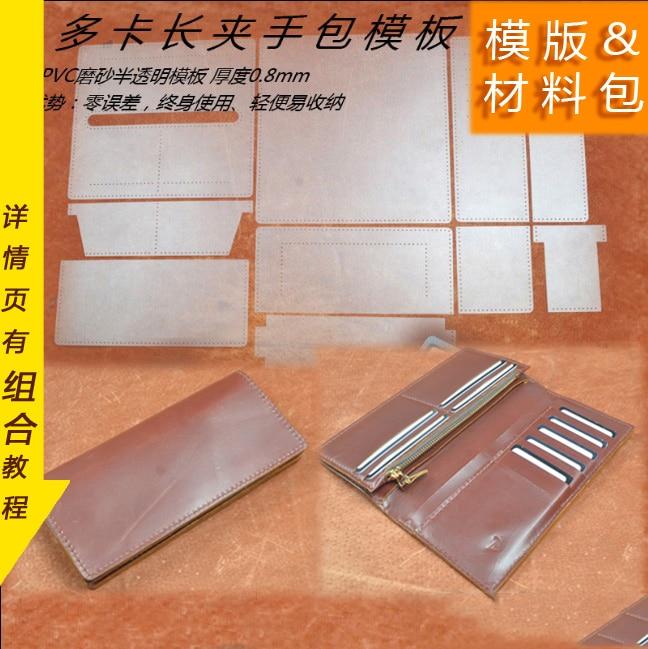 DIY lang multi lomme skinn lommebok symønster lær håndverk accessroies pvc mal