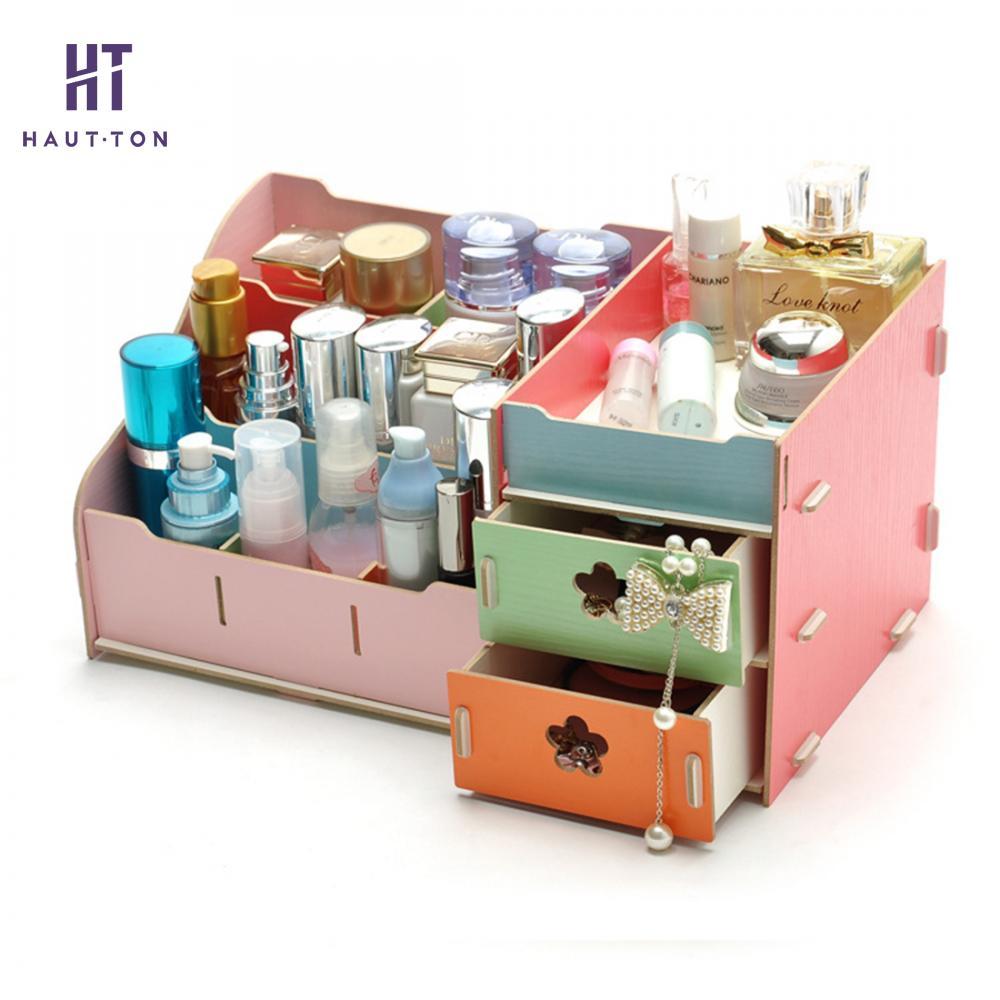 Boîte de rangement cosmétique en bois organisateurs de maquillage à réaliser soi-même petite boîte à bijoux tiroir conteneur de stockage d'articles divers de bureau