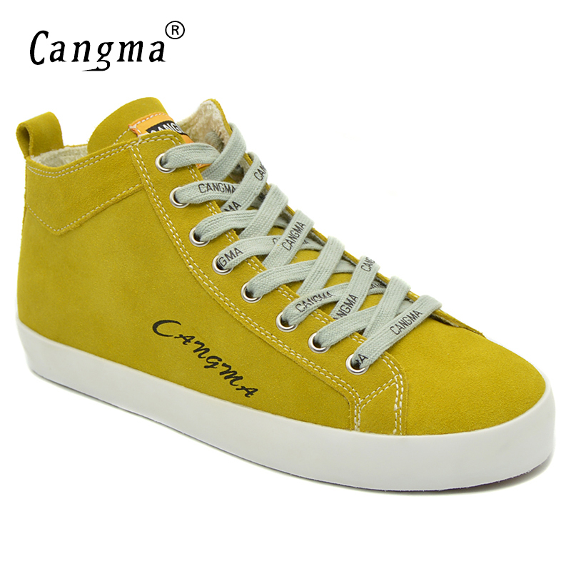 CANGMA Casual Shoes Woman Lace Up Cow Suede Footwear For Women Marque Female Genuine Leather Sneakers Mid Yellow Leisure ShoesCANGMA Casual Shoes Woman Lace Up Cow Suede Footwear For Women Marque Female Genuine Leather Sneakers Mid Yellow Leisure Shoes