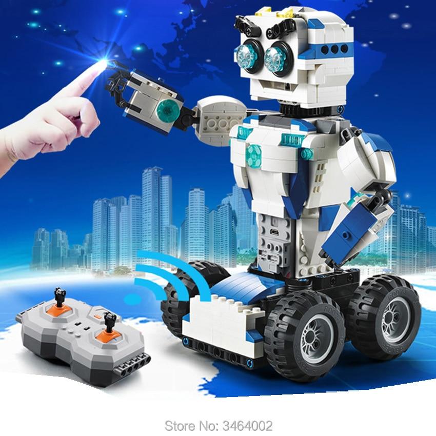 606 قطعة DIY 2 في 1 RC اللبنات تحويل الروبوت بطارية ليثيوم للسيارات التحكم عن بعد متوافق الكبرى العلامة التجارية الطوب هدية الاطفال-في حواجز من الألعاب والهوايات على  مجموعة 1