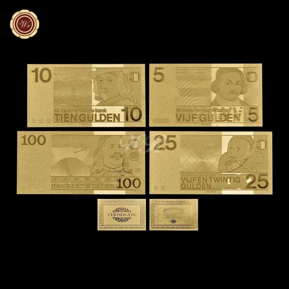 Metal Ouro Banknote Holanda 5 10 25 100 Cédula De Papel Impresso Para A Coleta de Dinheiro Falso Com 3D
