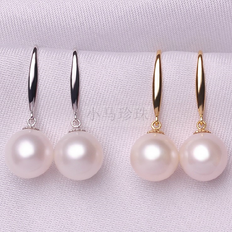 Eternal wedding Women Gift word 925 Sterling silver real A natural pearl circle Genuine 9 10MM Freshwater Pearl Earrings in Drop Earrings from Jewelry Accessories
