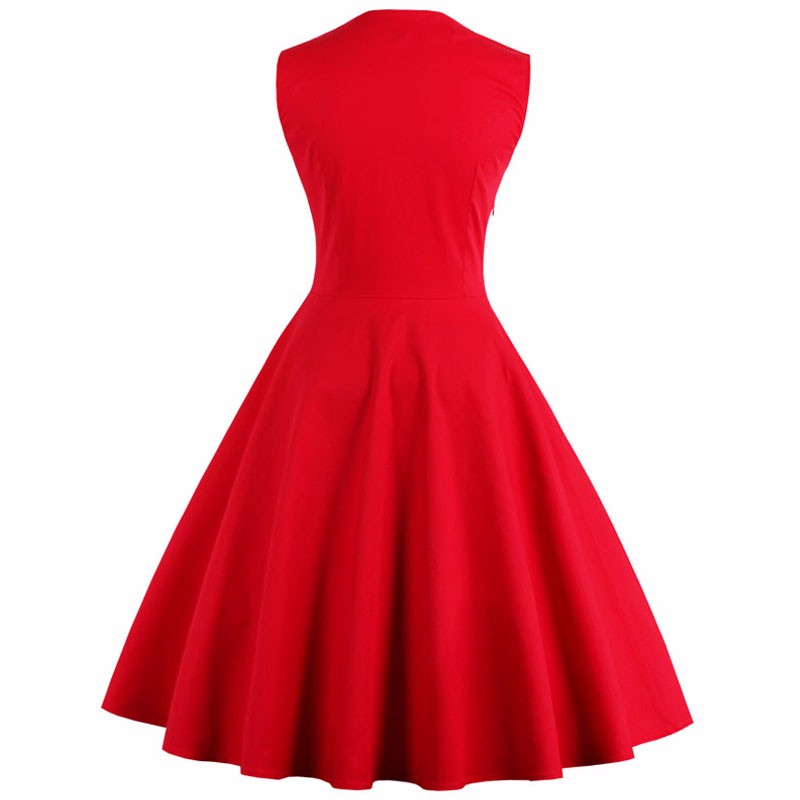 S-5XL Wanita Robe Pin Up Dress Retro 2018 Vintage 50s 60s Rockabilly - Pakaian wanita - Foto 2