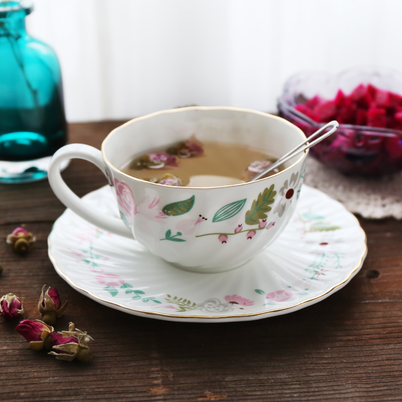 European high bone china exquisite ceramic coffee cup and saucer set Small floral China pastoral fire coffee cup and saucer