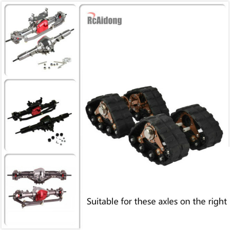 4PCS 1/10 RC Aluminum Alloy Tracks Wheel Sandmobile Conversion Snow Tire for SCX10 Axial Scale Axle and Trail Crawler