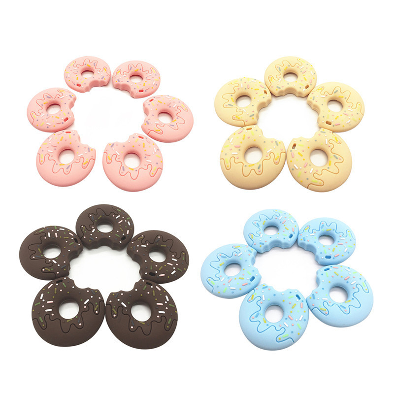 1pc Baby Silicone Teeth Grinding Cookies Donut Pendant Teether Chew Toy Silicone Beads Baby Teethers Gift Soft Silicone Teethers