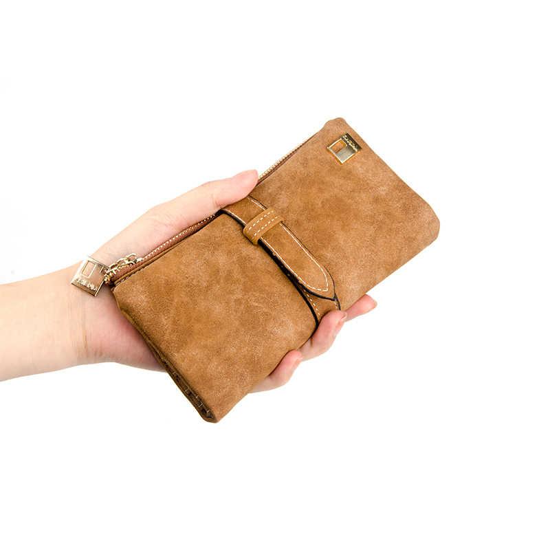 العلامة التجارية الشهيرة محفظة طويلة اثنين أضعاف النساء محافظ الرباط Nubuck الجلود سستة الجلد المدبوغ محفظة السيدات Carteira الأنثوية حقيبة صغيرة