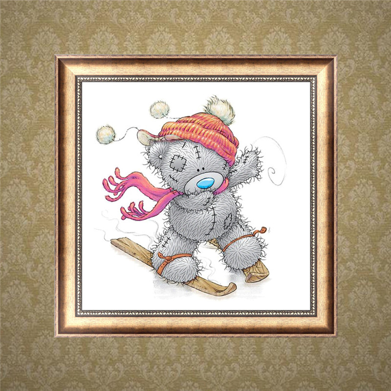 Fine time DIY 5D Diamond Cross Stitch Teddy Bear Ski Diamond Embroidery Drawing Cartoon Set christmas decorations for home in Diamond Painting Cross Stitch from Home Garden