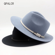 QPALCR High Quality Wool Fedoras Hat Classic Belt Wide Brim