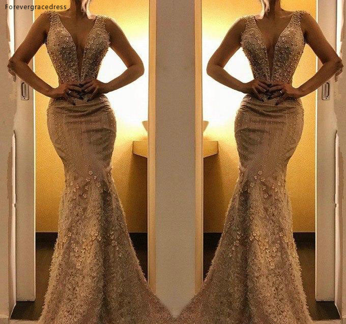 2019 Cheap Champagne Lace   Evening     Dress   Sexy Dubai Plunging Deep V Neck Holiday Women Wear Formal Party Prom Gown Plus Size