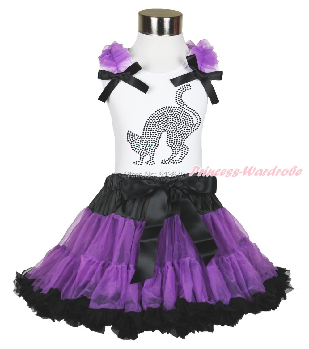 Halloween Rhinestone Black Cat White Top Purple Black Skirt Party Outfit 1-8Year MAMG1177 halloween rhinestone cat white top dusty pink skirt girls cloth outfit set 1 8y mapsa0785