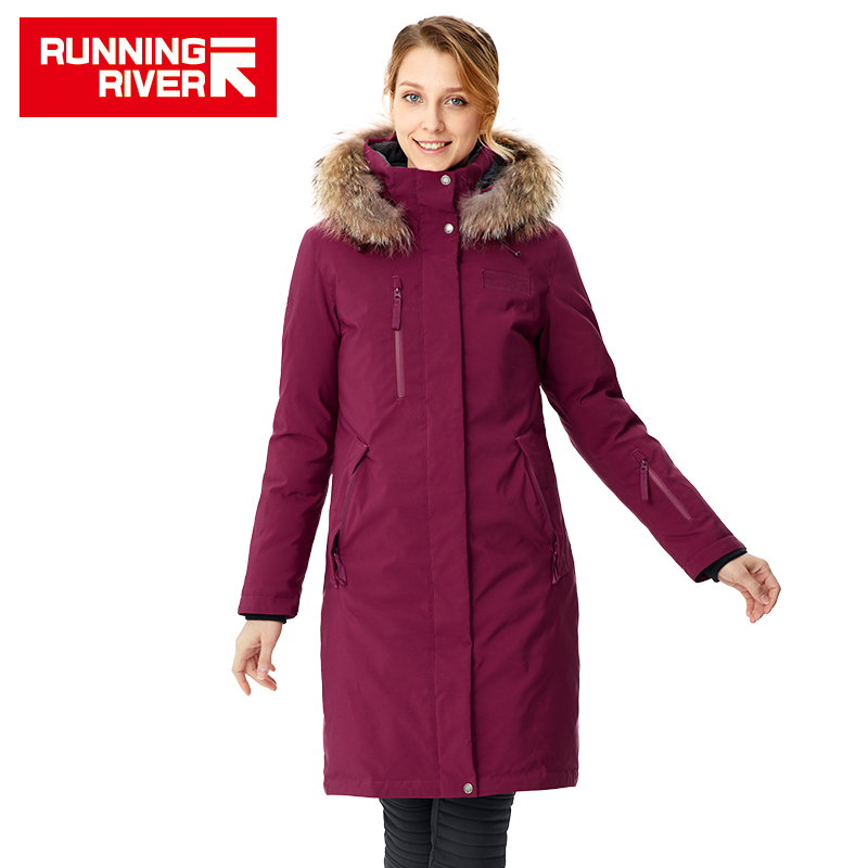 RUNNING RIVER Brand Women Mid thigh Winter Hiking Camping Down Jackets 4Colors 5 Sizes Hooded Outdoor