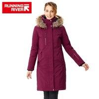 Running river 브랜드 여성 mid-thigh 겨울 하이킹 및 캠핑 다운 재킷 4 색 5 크기 후드 야외 스포츠 코트 # d8141