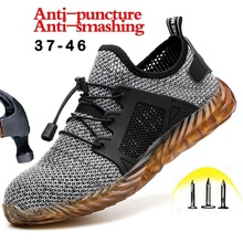 New Fashion Men Steel Toe Cap Work Safety Boots Steel Mid Sole Anti-puncture Soft Bottom Safety Shoes Plus Size 37-46 цены