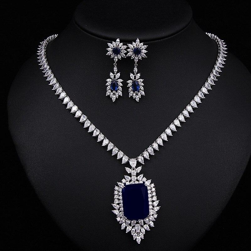 2016 Fashion Blue Crystal Jewelry Sets Luxury Vintage CZ Necklace&Earrings Jewelry Colar Feminino2016 Fashion Blue Crystal Jewelry Sets Luxury Vintage CZ Necklace&Earrings Jewelry Colar Feminino