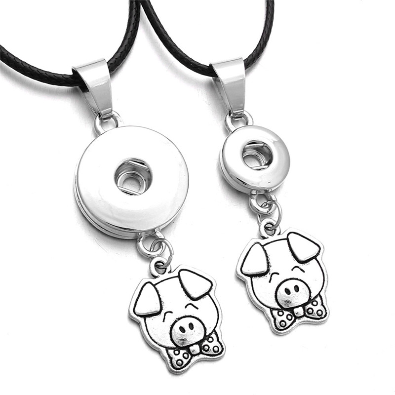 Wholesale Cute Pig Pendant Necklace Fit 18 & 12mm Snap Button Jewelry For Women Men Gift Necklace Jewelry ZG225